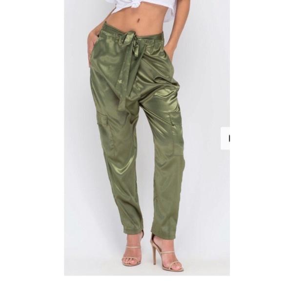 9ac00741eb7999 Pants | Olive Green Satin Cargo | Poshmark